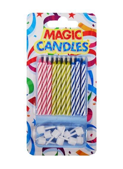 Набор негаснущих свечей для торта Magic (10шт) (6см)