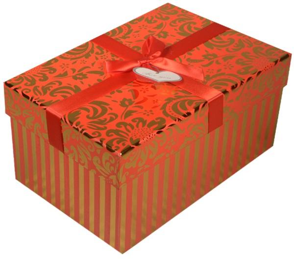 """Коробка подарочная """"Узор"""" металлик на красном, 19*13*9,5см"""