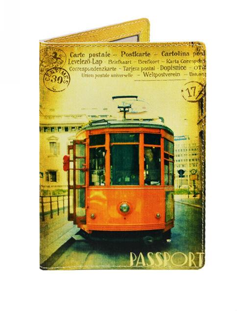 Обложка для паспорта кожа Трамвай (20069)