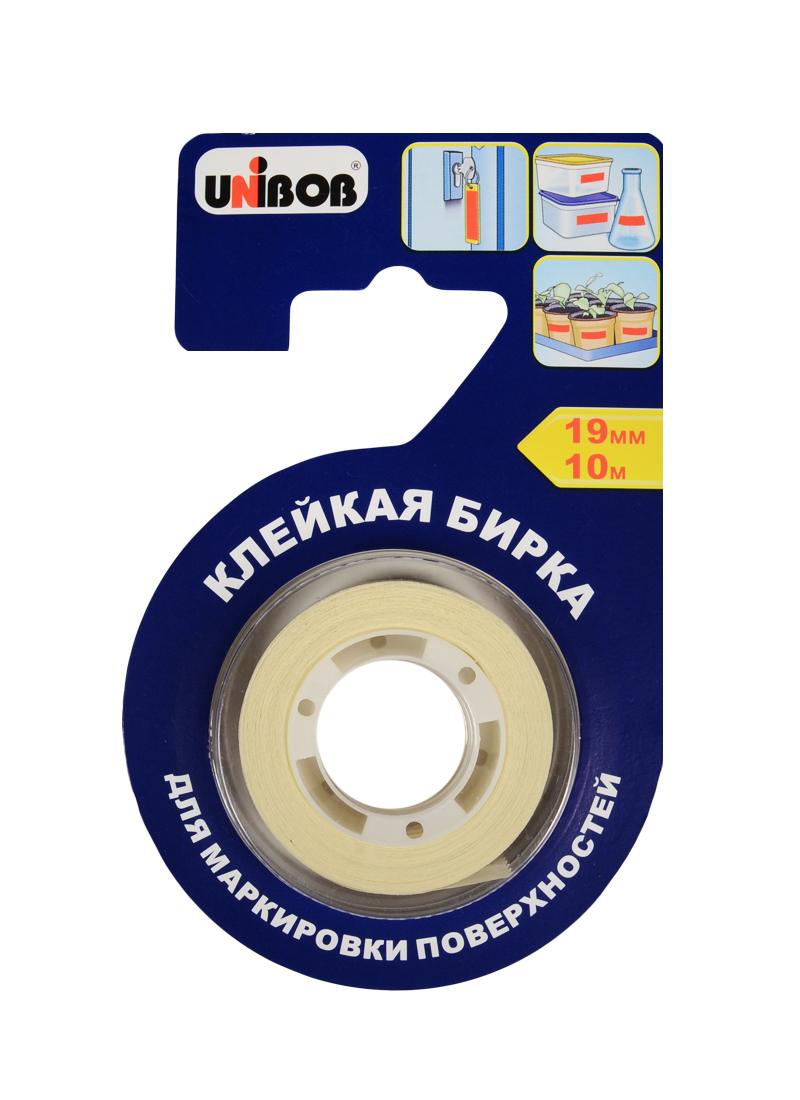 Бирка клейкая 19мм*10м на основе крепир.бум., блистер, Unibob