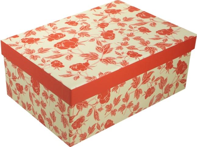 """Коробка подарочная """"Розочки"""" красный с белым 23*16.5*9.5см"""