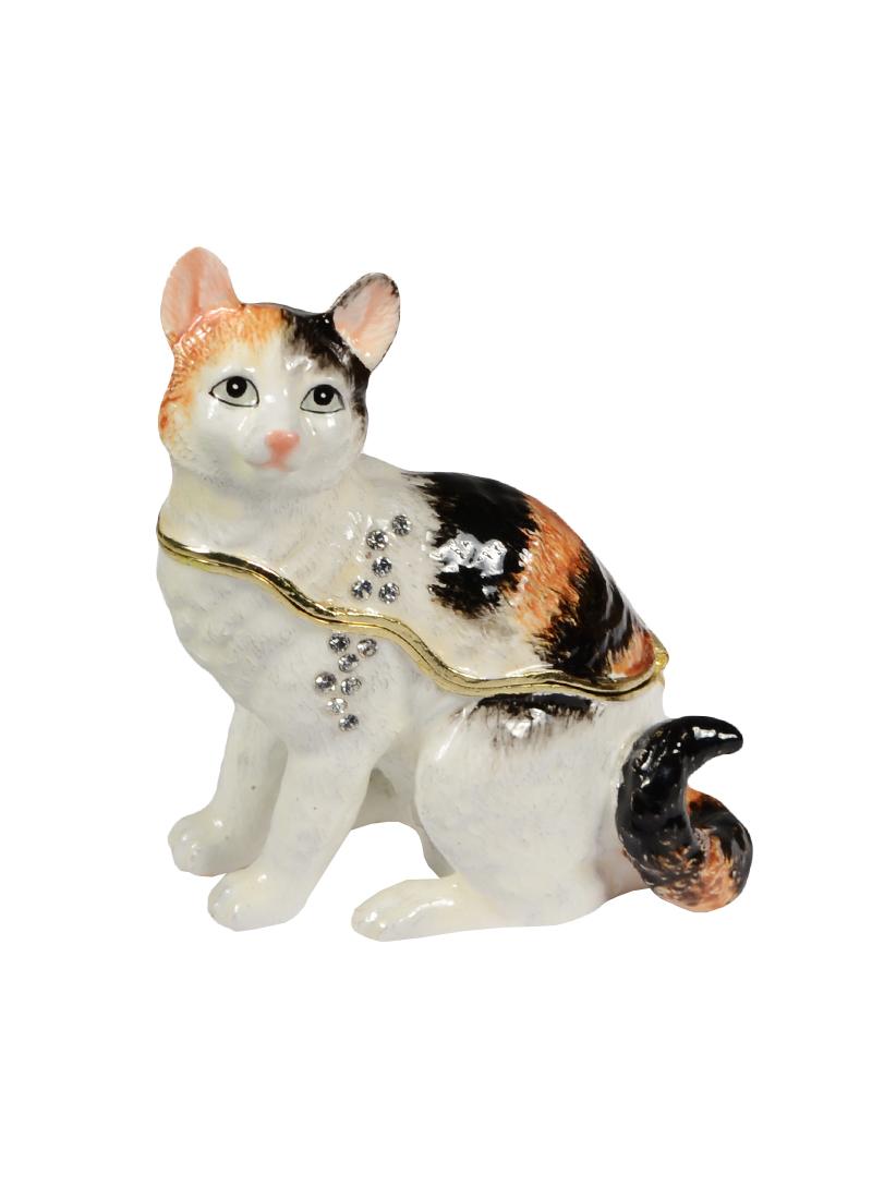 """Шкатулка мет.""""Белый / полосатый кот сидит"""" (BP2883K1)"""
