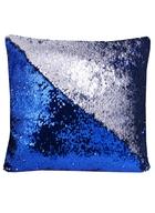 Подушка с пайетками темно-синяя с серебром (37х37)