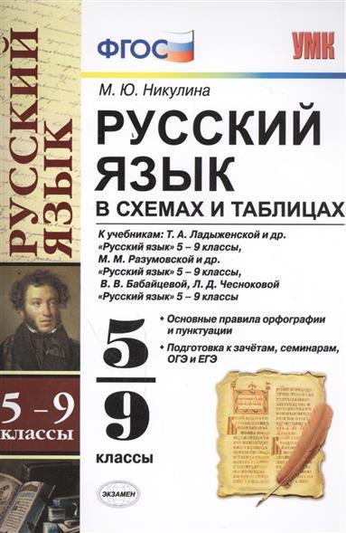 Никулина М.: Русский язык в схемах и таблицах. 5-9 классы. К учебникам: Т.А. Ладыженской и др.
