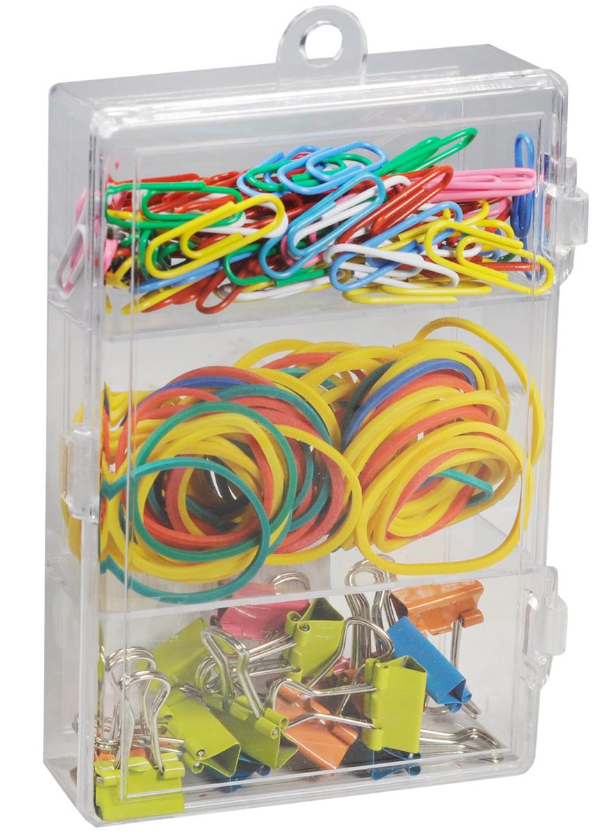 Набор канцелярский: скрепки 25мм 70шт цветные виниловые, резинки ассорти 15гр, зажимы 15мм 16шт цветные