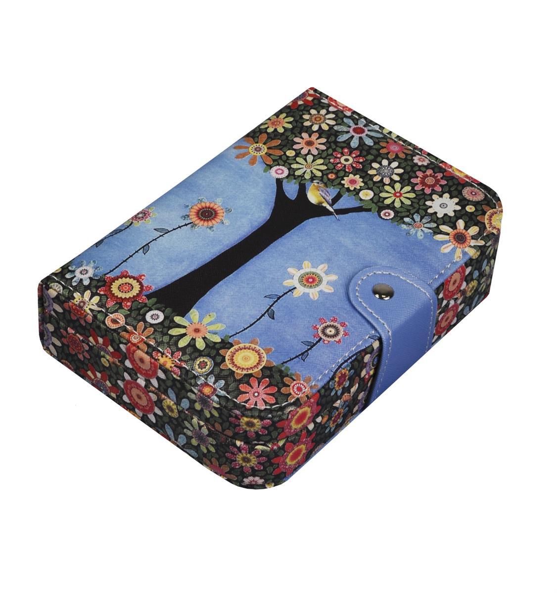Шкатулка для украшений с кнопкой кожзам Яркое деревце (5х20х14)