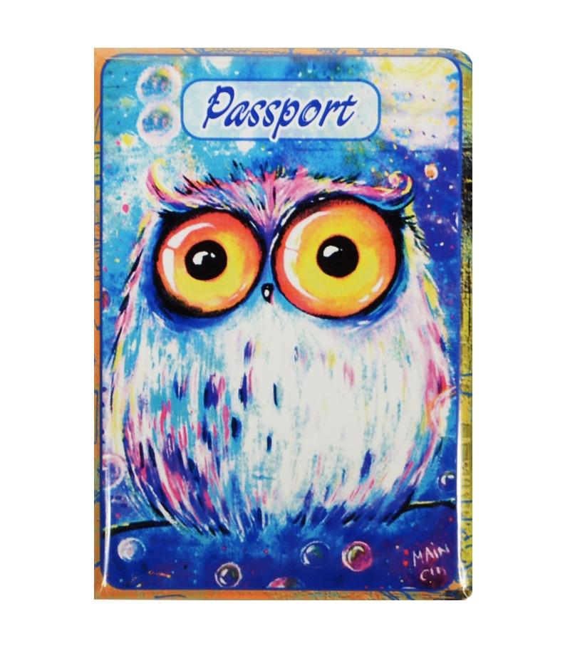 Обложка для паспорта Сова на синем фоне (ОП2015-009)