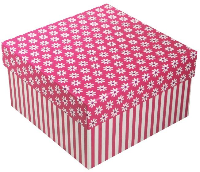 "Коробка подарочная ""Ромашки c полосками"" фуксия, 13*13*7.5см"