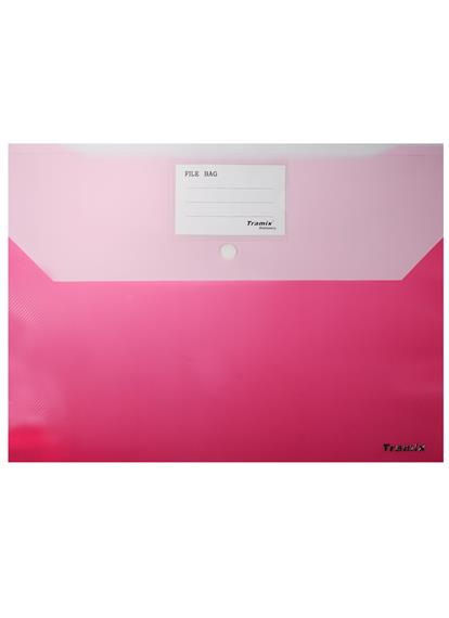 Папка-конверт А4 на кнопке 2 отд., карман д/визитки, ассорти, Tramix