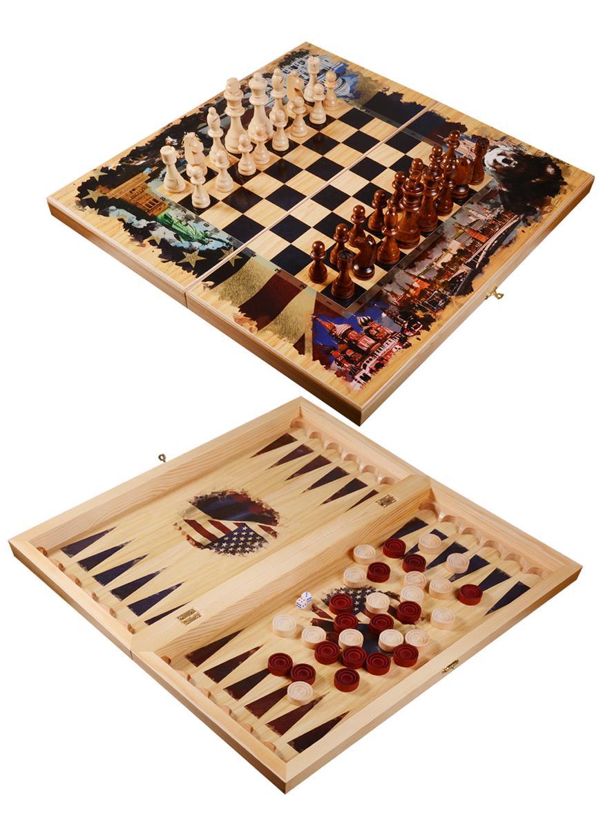 "Набор ""Противостояние Россия-Америка"": шахматы, нарды, шашки"
