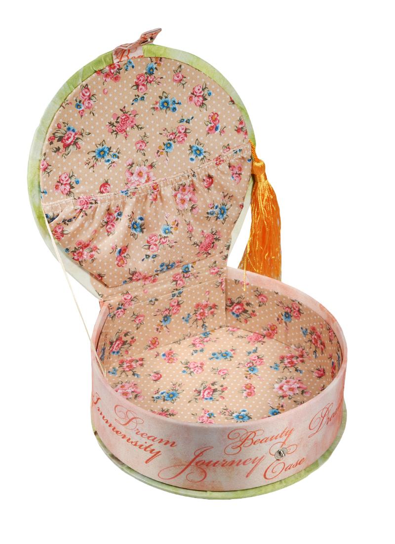 Шкатулка круглая с кисточкой текстиль Бабочки (17х16х5) (40945)