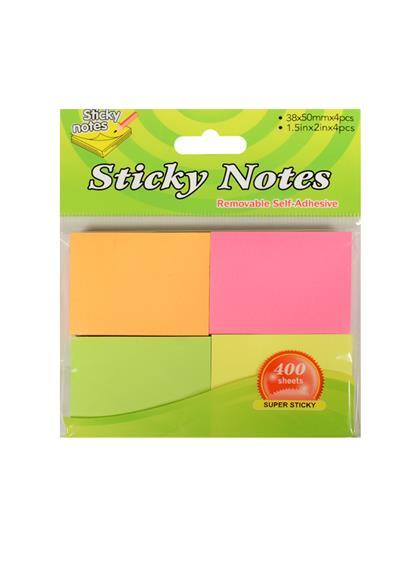 Блок бумаги 38*50мм самоклеящийся, 4цв*100шт, неон, ShanJia