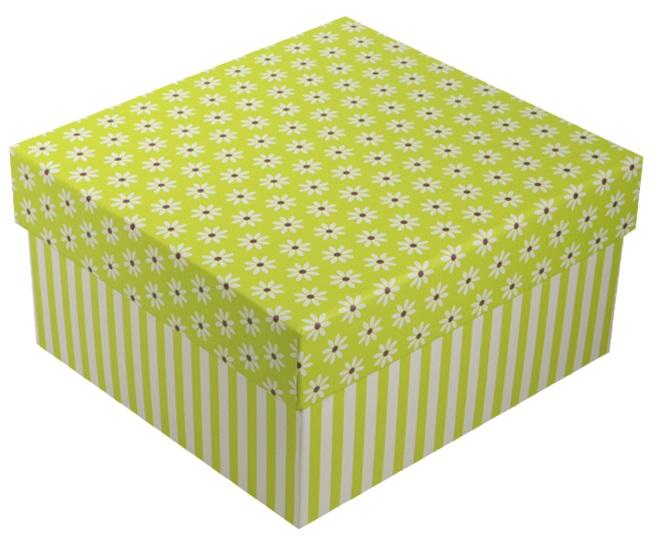 """Коробка подарочная """"Ромашки c полосками"""" салатовая, 15*15*8.5см"""