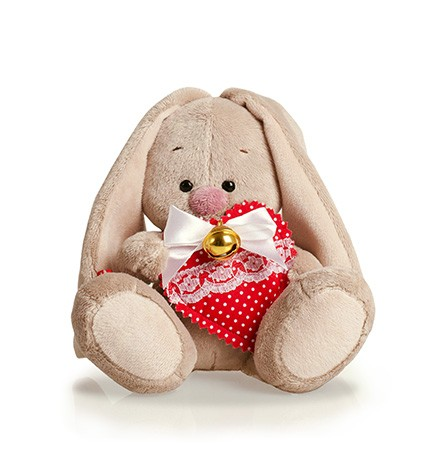 Мягкая игрушка Зайка Ми с сердцем и бубенчиком (15 см) (SidXm28) (Буди Баса)