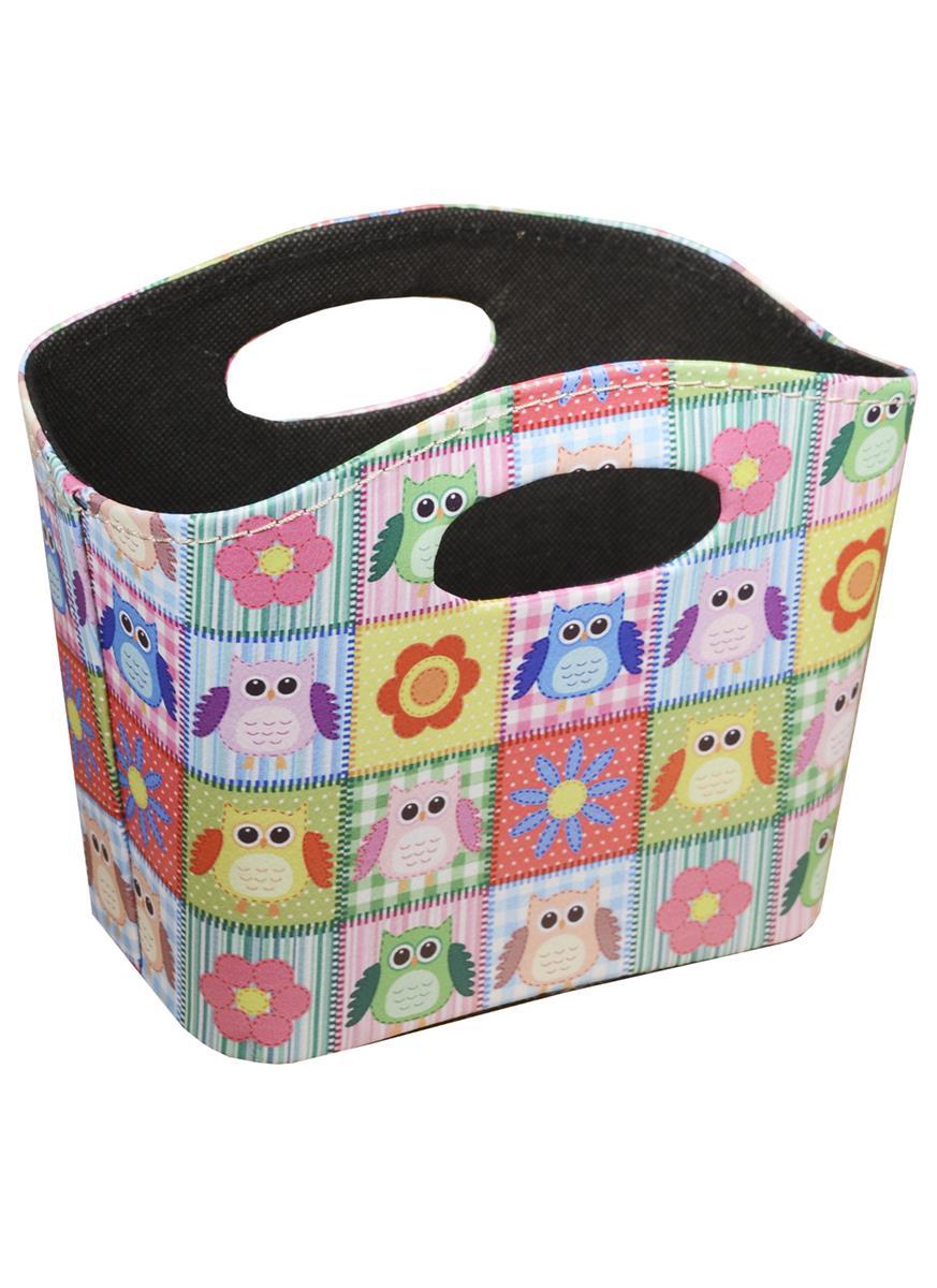 Корзинка для мелочей Цветные совы (яркие квадраты) (18х16)
