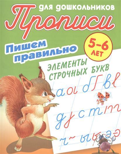 Прописи для дошкольников. Пишем правильно элементы строчных букв. 5-6 лет