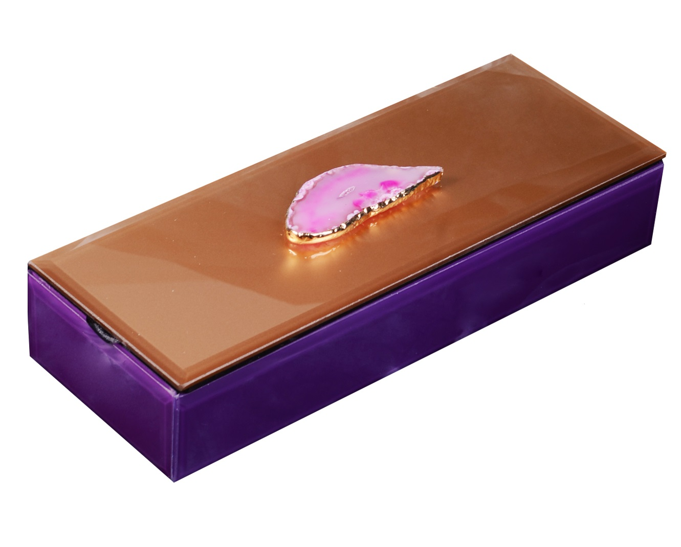 Шкатулка стекло Розовый агат (25x10x5)