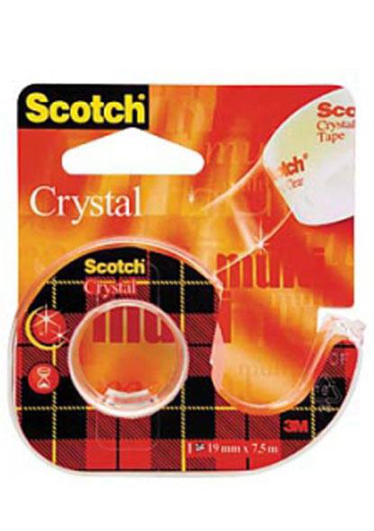 Лента клейкая 19мм*7,5м кристально-прозрачная, Crystal диспенсер
