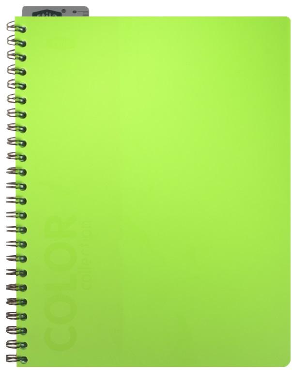 "Тетрадь 96л кл. ""NEON GREEN"" спираль, закладка-линейка, пластик.обл., ярко-зеленая, stila"