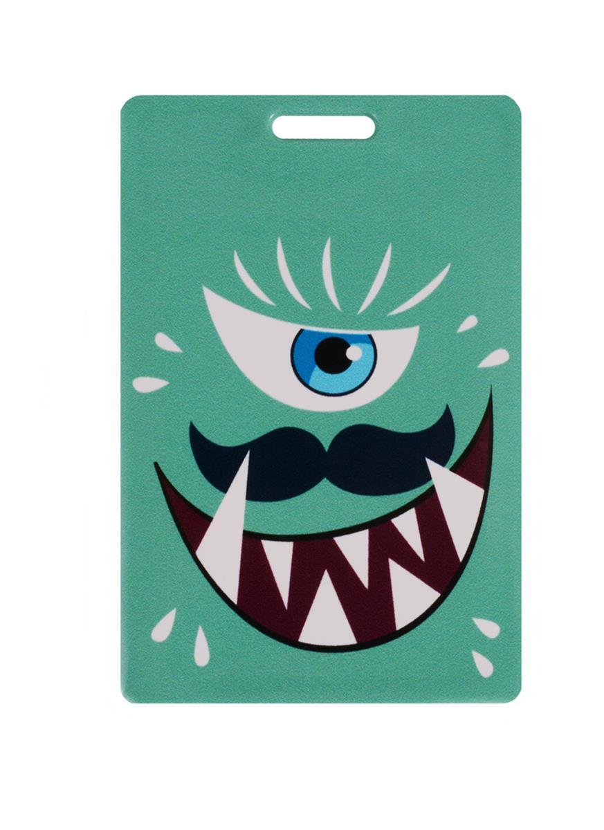 Чехол для карточек Монстр зеленый с усами