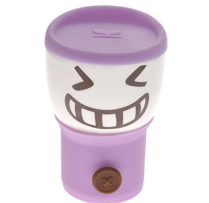 Кружка с силиконовой крышкой Smylie Guy, фиолетовая (110WG-1-234-5) (Ритейл Айдиа)
