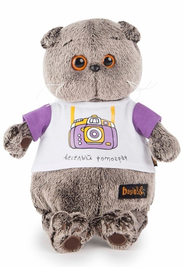 Мягкая игрушка Басик в футболке с принтом Весёлый фотограф (19 см)