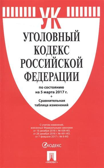 Уголовный кодекс Российской Федерации по состоянию на 5 марта 2017 г. + сравнительная таблица изменений