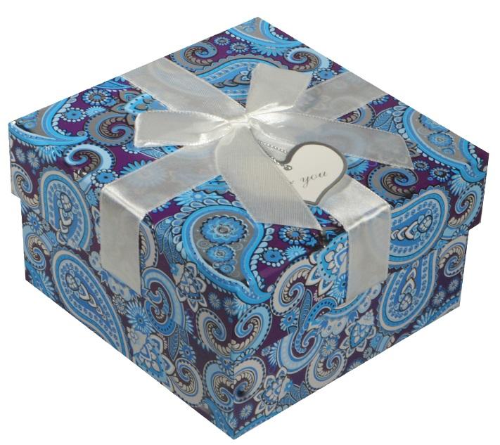 """Коробка подарочная """"Голубые огурцы"""" 13*13*7.5см"""