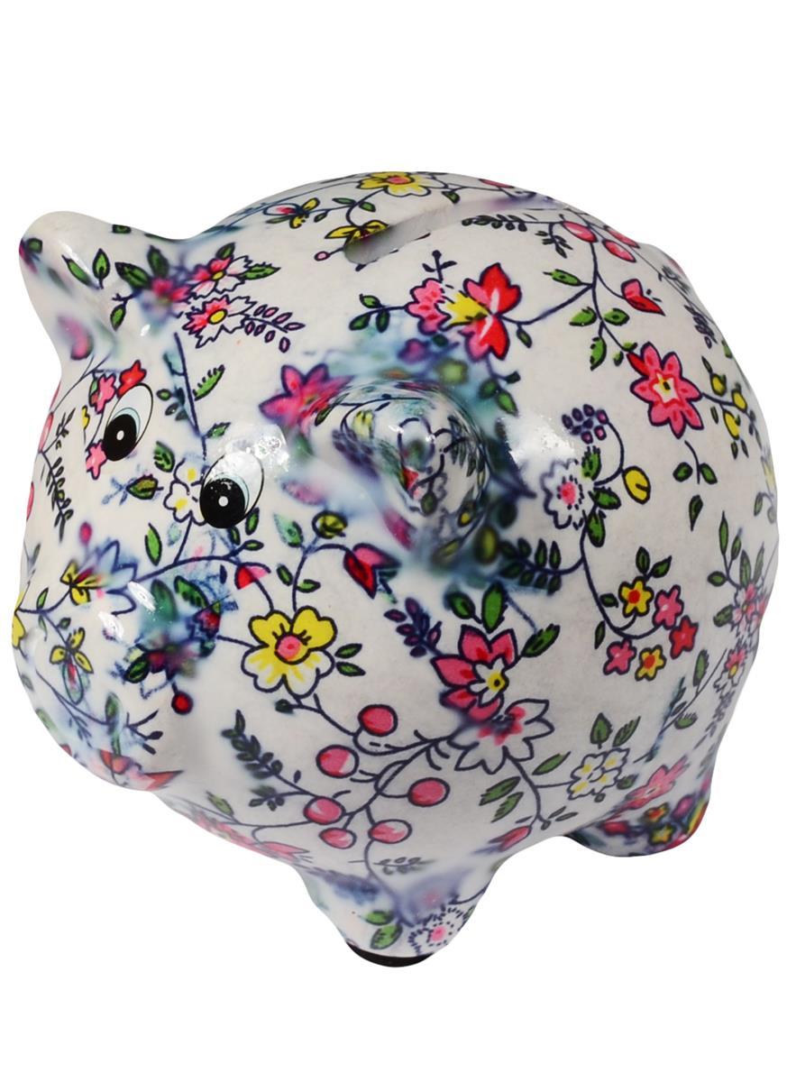 Копилка Свинка с цветочным узором (керамика) (19х8,5) (12-06789-С2)