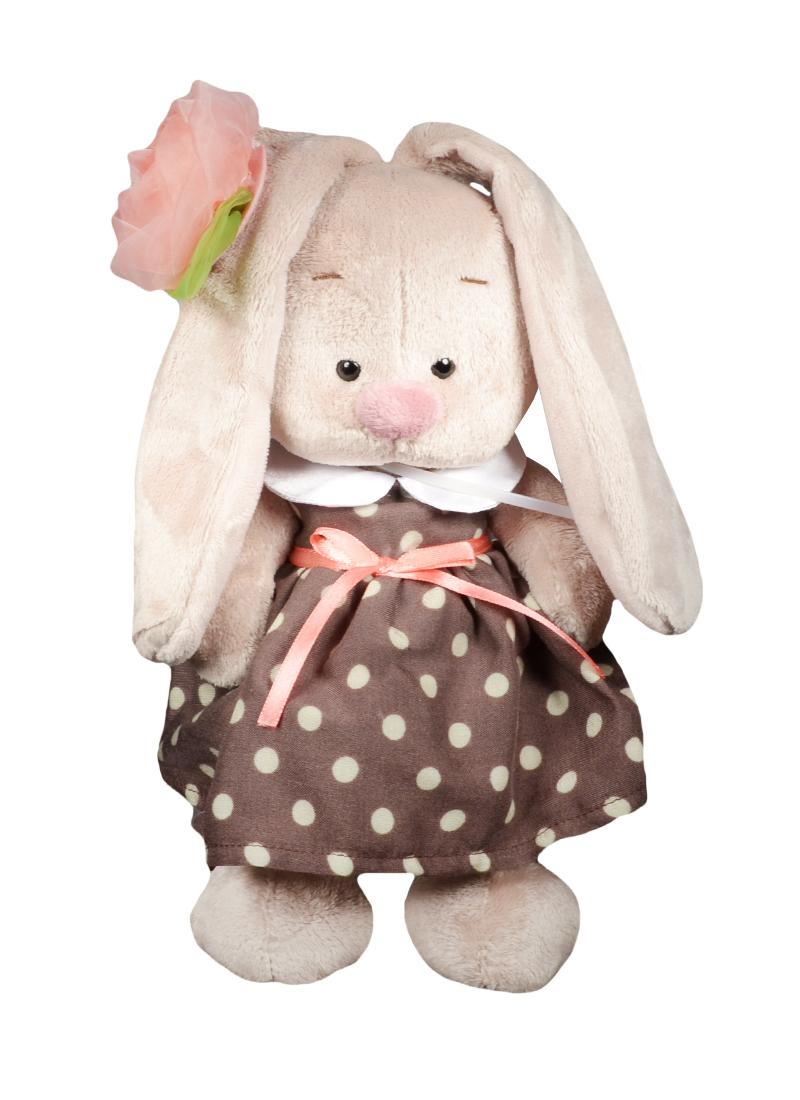 Мягкая игрушка Зайка Ми в кофейном платье и цветком на ушке (25 см) (StS-143)