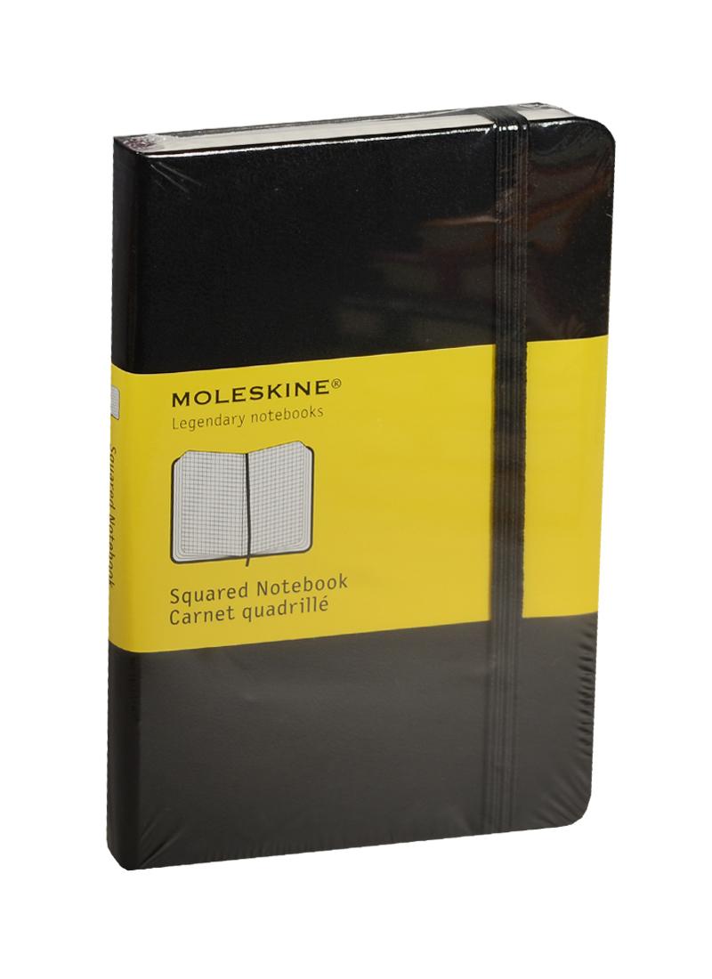 """Записная книжка А6 96л кл. """"Classic Pocket"""" черная, жесткая обложка, резинка, Moleskine"""