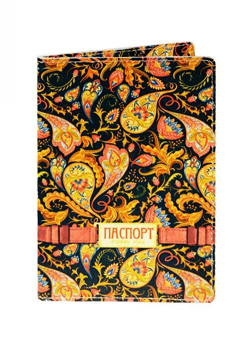 Обложка для паспорта кожа Золотой узор (20093)