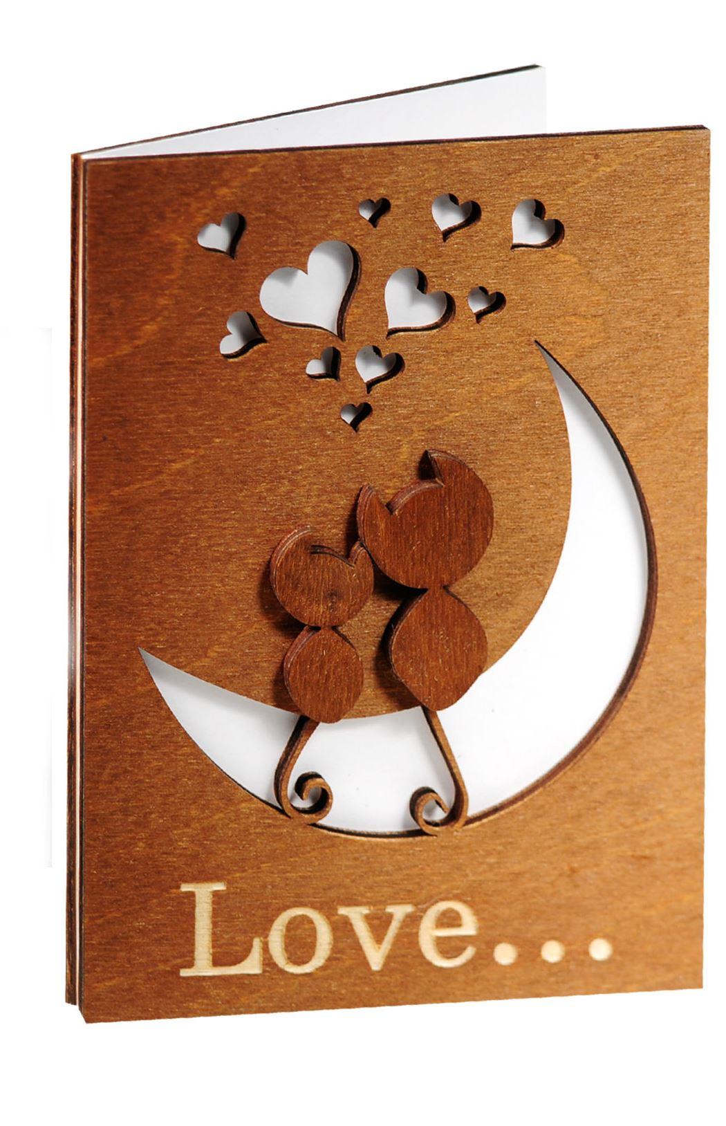 Открытка дерево Love Кошки и месяц