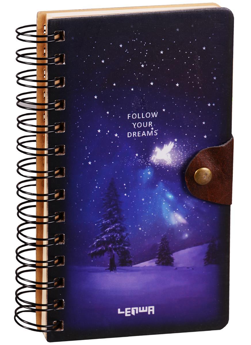 Блокнот Космос Follow your dreams на пружине c кнопкой (крафт) (196стр) (10,5х18,5)
