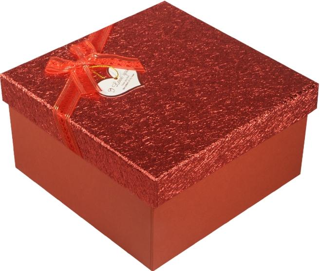 """Коробка подарочная """"Красный металлик"""" с сердцем 16,5*16,5*9см"""