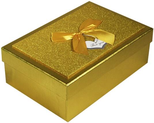 """Коробка подарочная """"Металлик золото"""" 10,5*17,5*5,5см"""