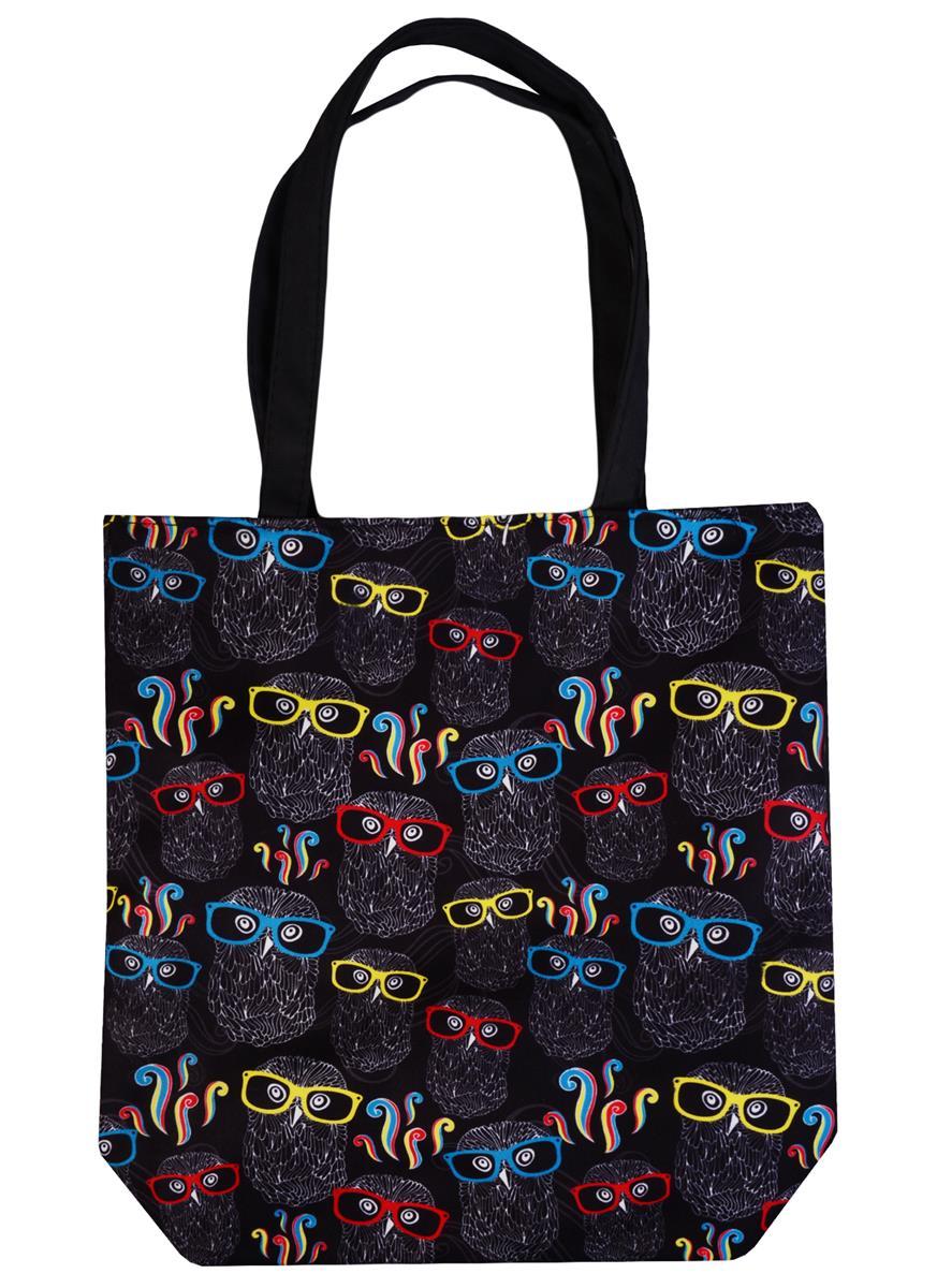 Сумка на молнии Совы в очках на черном фоне (38х35) (текстиль, флис)