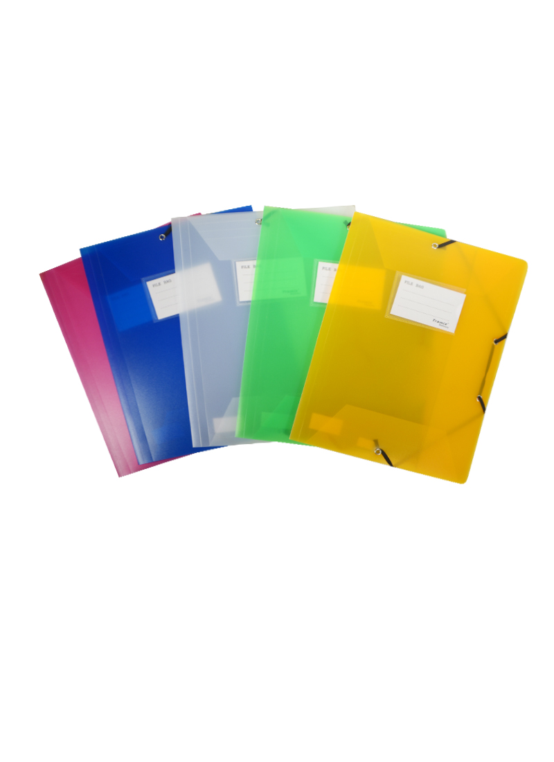 Папка на резинке А4 пластик 0,5мм, карман д/визитки, ассорти, Tramix