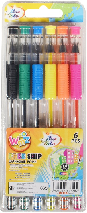 """Ручки шариковые """"Neon Color"""", 6 цв."""