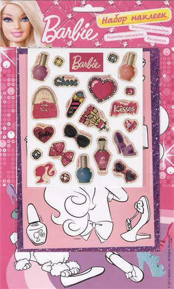 Barbie: блестящие наклейки, наклейки-раскраски, раскраска