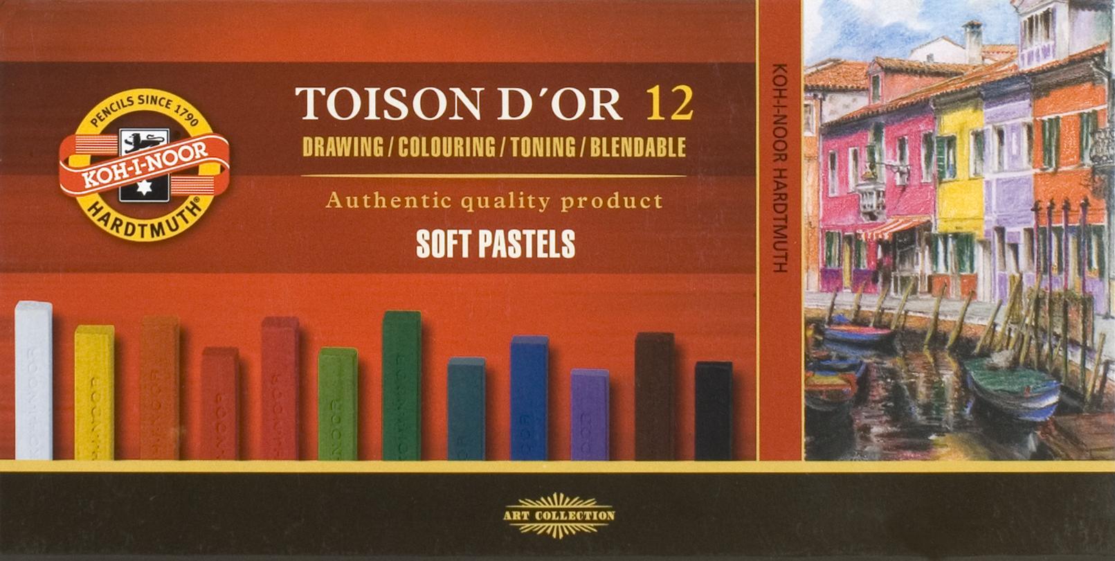 """Пастель сухая 12цв """"Toison D'or"""" мягкая прямоугольная, к/к, Koh-I-Noor"""