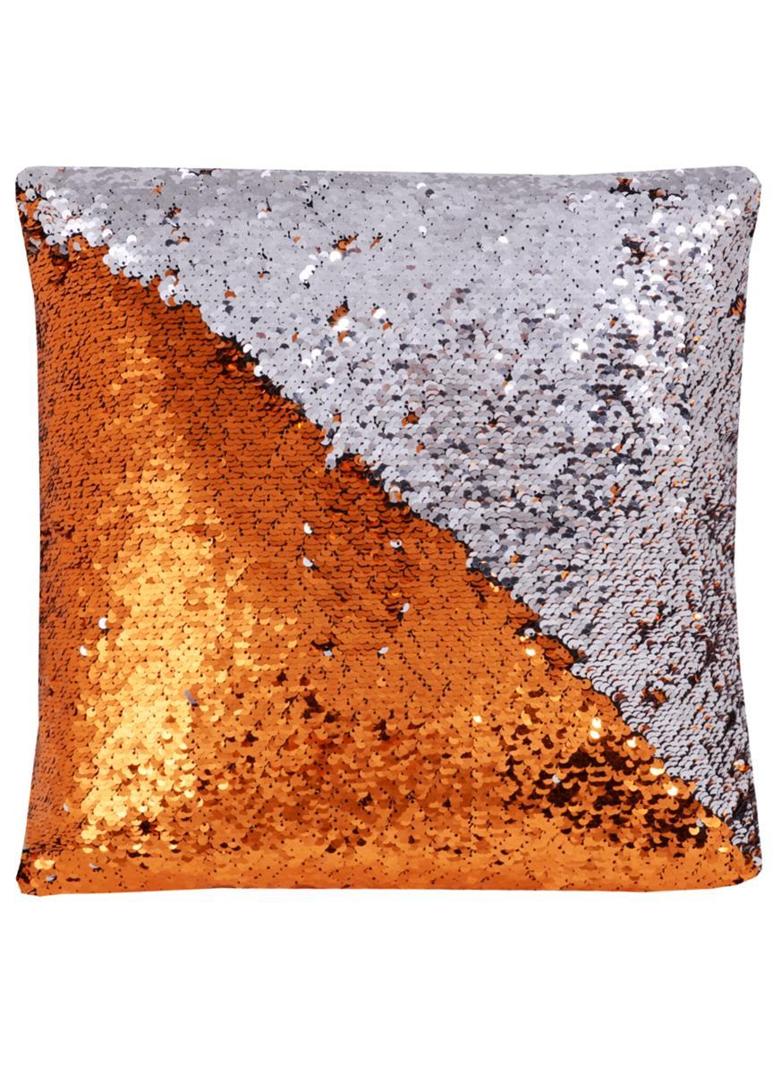 Подушка с пайетками красно-золотая с серебром (37х37)