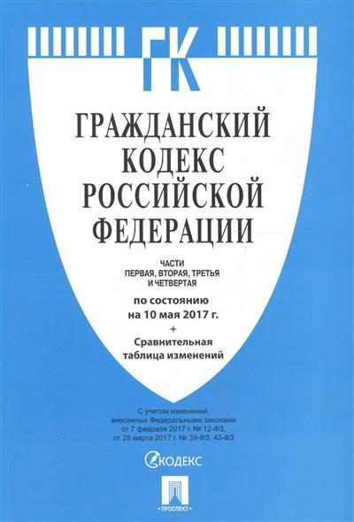 Гражданский кодекс Российской Федерации. Часть 1,2,3,4. По сост. на 10.05.2017 + Сравнительная таблица изменений