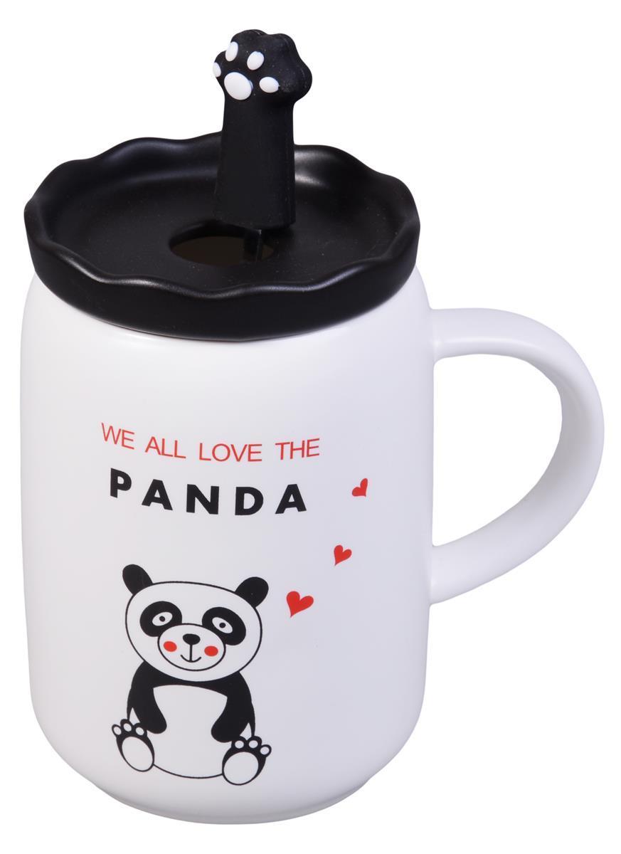 Кружка с крышкой и ложкой Панда (керамика) (350мл)