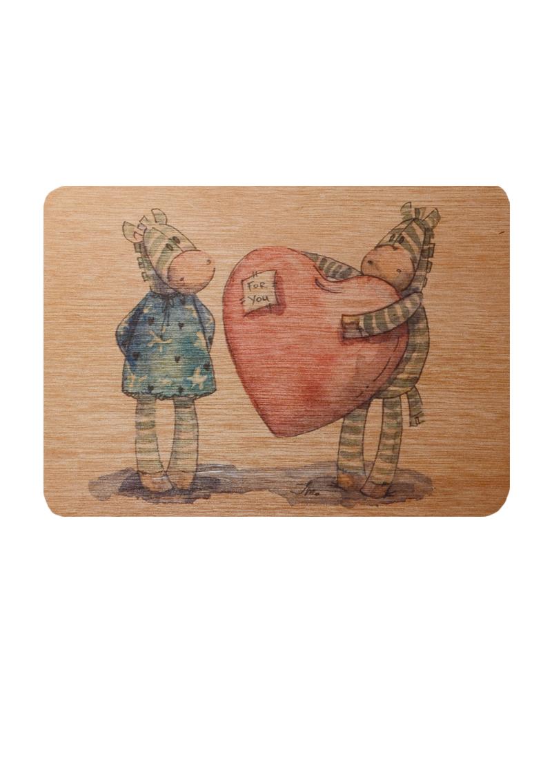 Открытка деревянная Зебры с сердцем For you