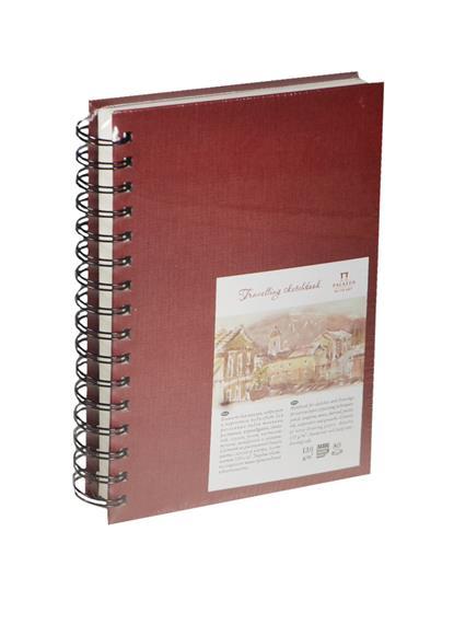 """Скетчбук А5 80л """"Travelling sketchbook""""  слоновая кость, рисов.бумага 130г/м2, вертикальный, пружина слева, Гознак"""