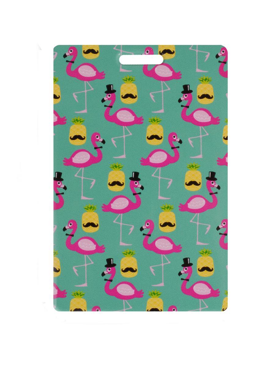 Чехол для карточек Фламинго и ананас с усами