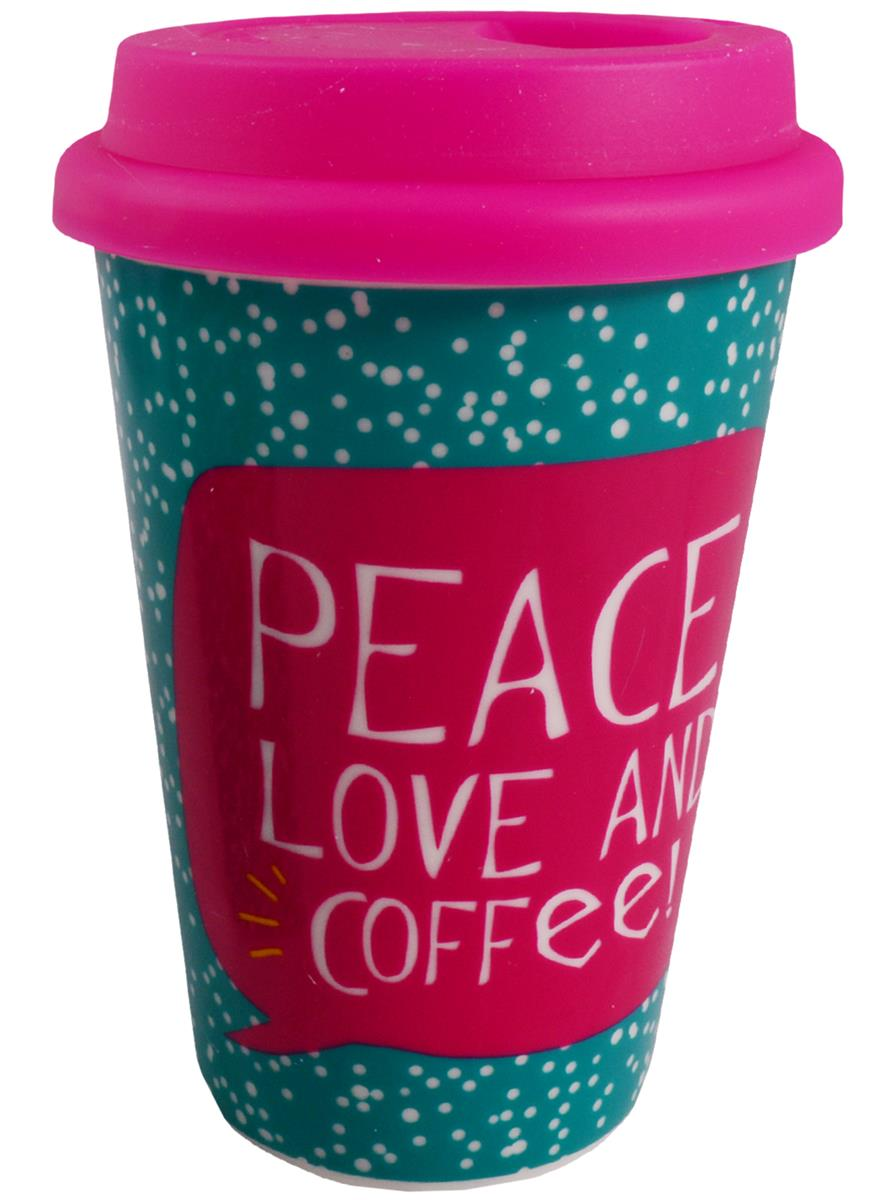 Стакан керамический Peace, Love and Coffee (ПВХ бокс)
