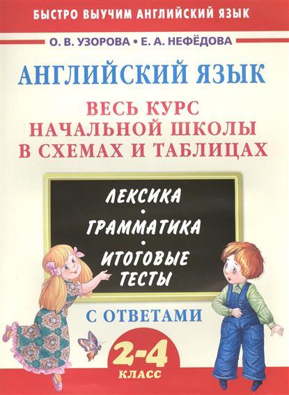 Английский язык. Весь курс начальной школы в схемах и таблицах. Лексика. Грамматика. Итоговые тесты с ответами. 2-4 класс