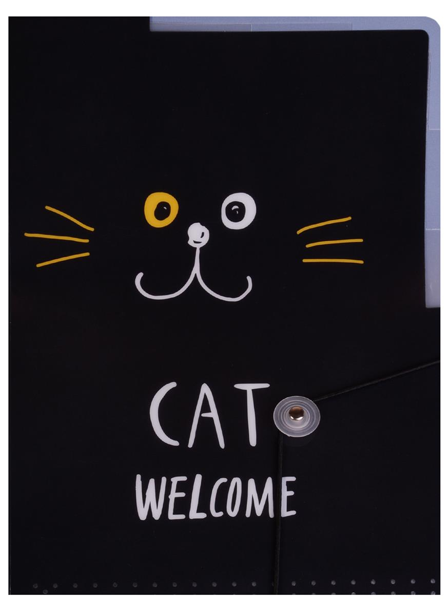 "Папка-уголок А4 на резинке ""Cat welcome"""